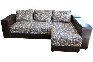 Лондон-3 Угловой диван Ajur biege brown / Аполлон DK brown